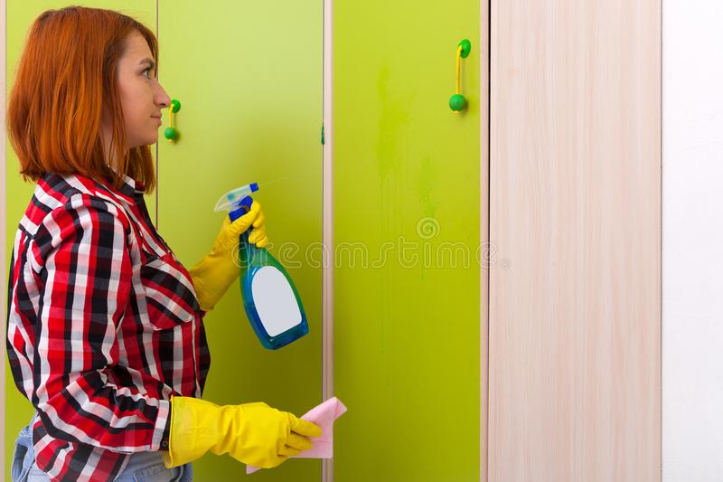 Woman doing housework stock photography