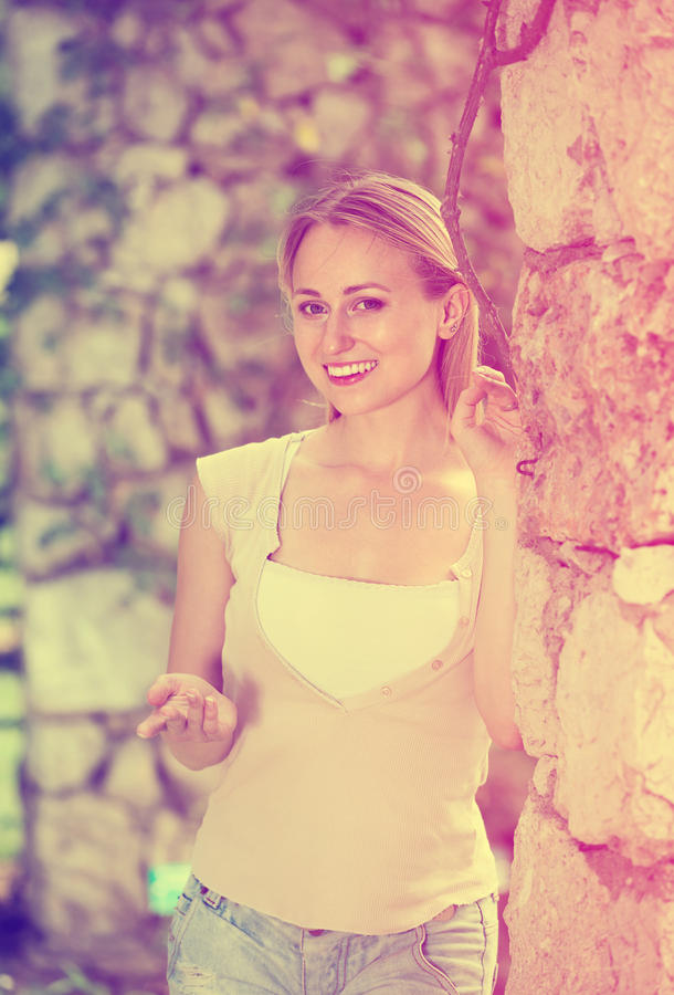 сloseup of nice young woman standing outdoors royalty free stock image