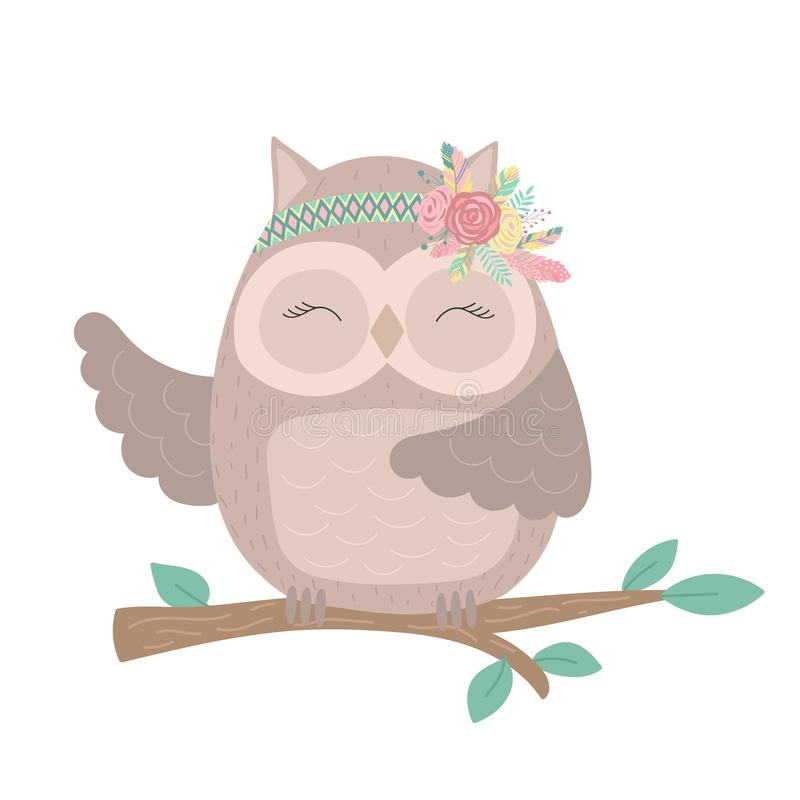 Сollection of hand-drawn boho funny owl on the tree with flowers and feathers. royalty free illustration