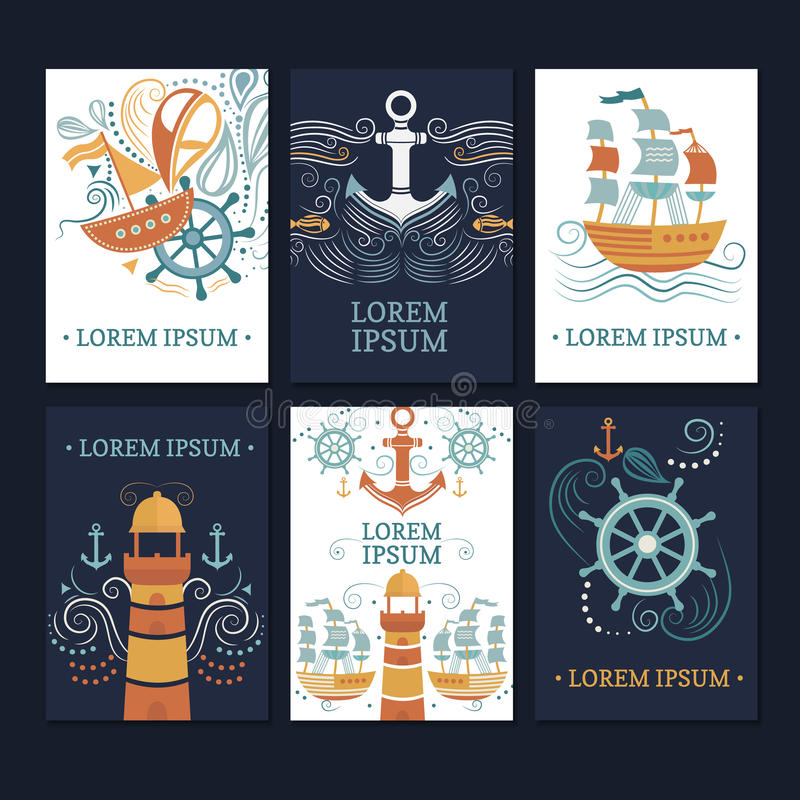 Сollection of marine cards. stock illustration