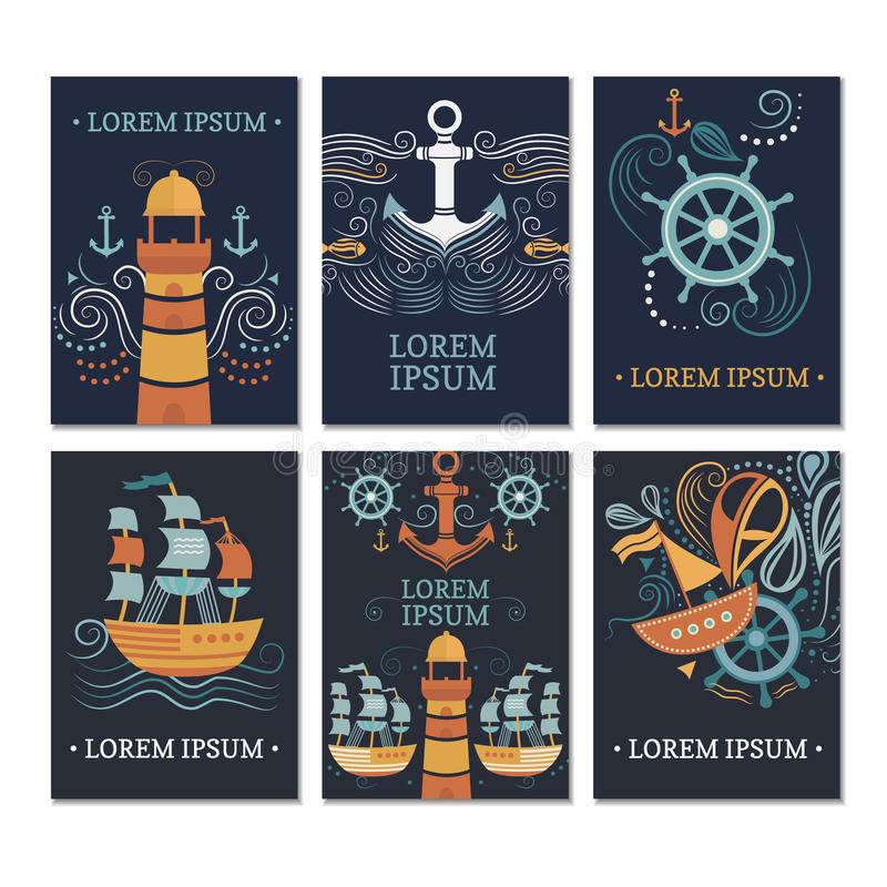 Сollection of marine cards. vector illustration