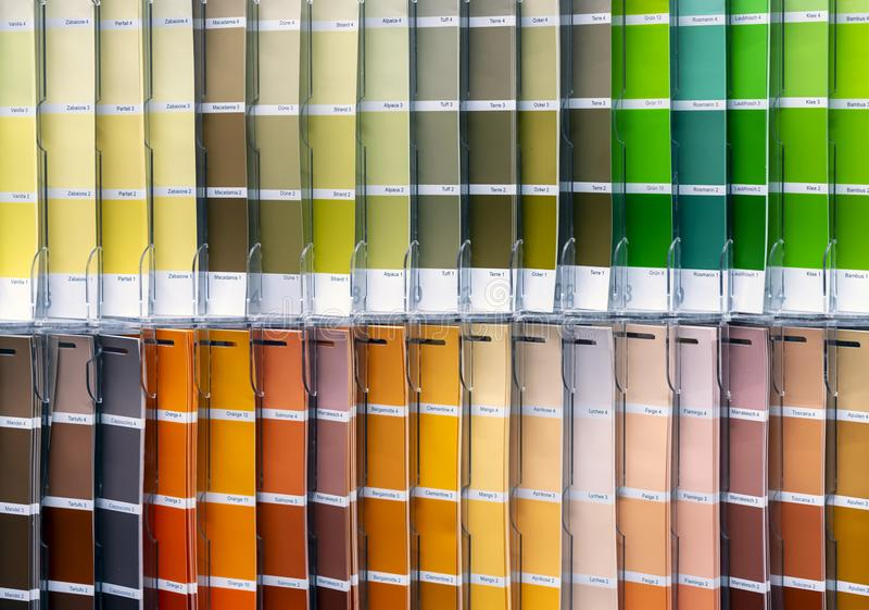 Ð¡olor palette for choosing fabric or paint. Background from color swatches stock photo