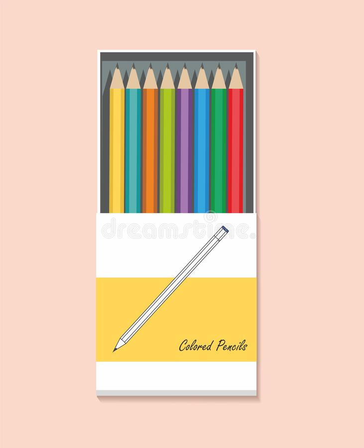 Ð¡olor pencils in a box isolated on pink background. Vector Flat Illustration vector illustration