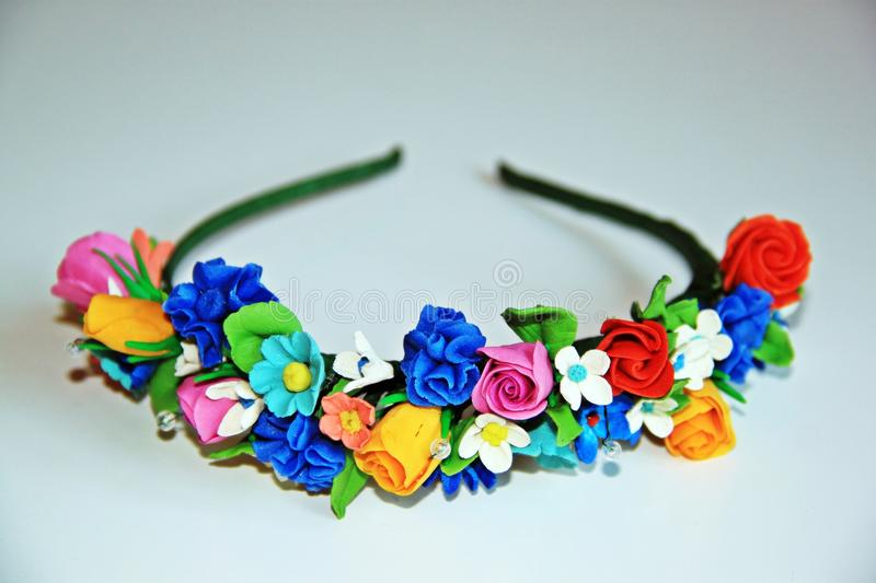 Ð¡olored wreath of flowers for the head stock photo