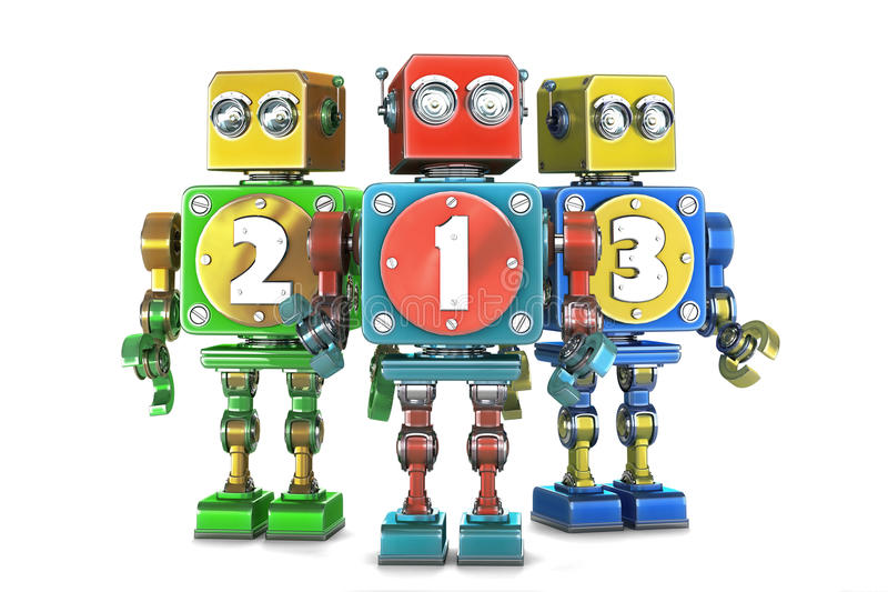 Ð¡olorful 123 numbers sign on retro robots. Isolated. Contains cl royalty free illustration