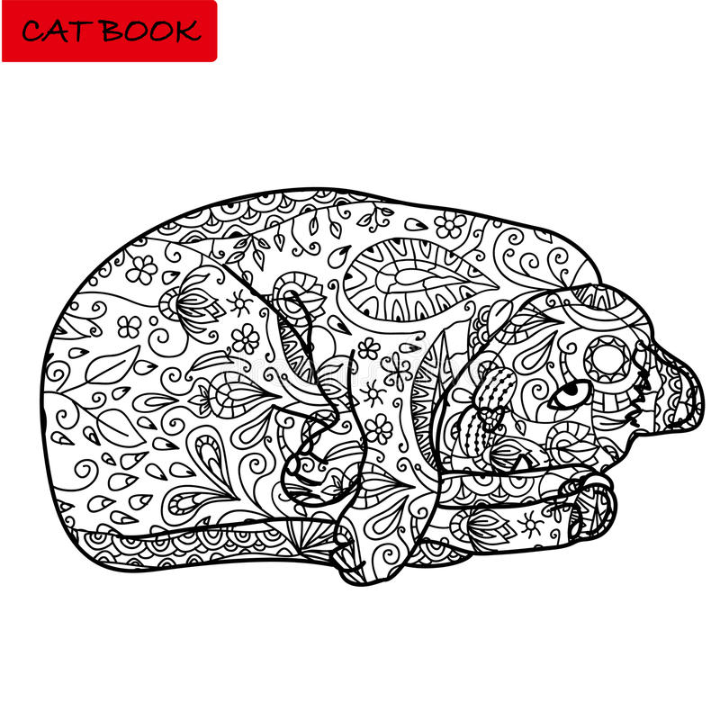 Ð¡oloring page for adults. Funny cranky cat in the lying position. Hand drawn illustration with patterns. Coloring page for adults. Funny cranky cat in the royalty free illustration