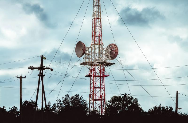 Ð¡ommunication tower for cellular communications and broadcasting stock image