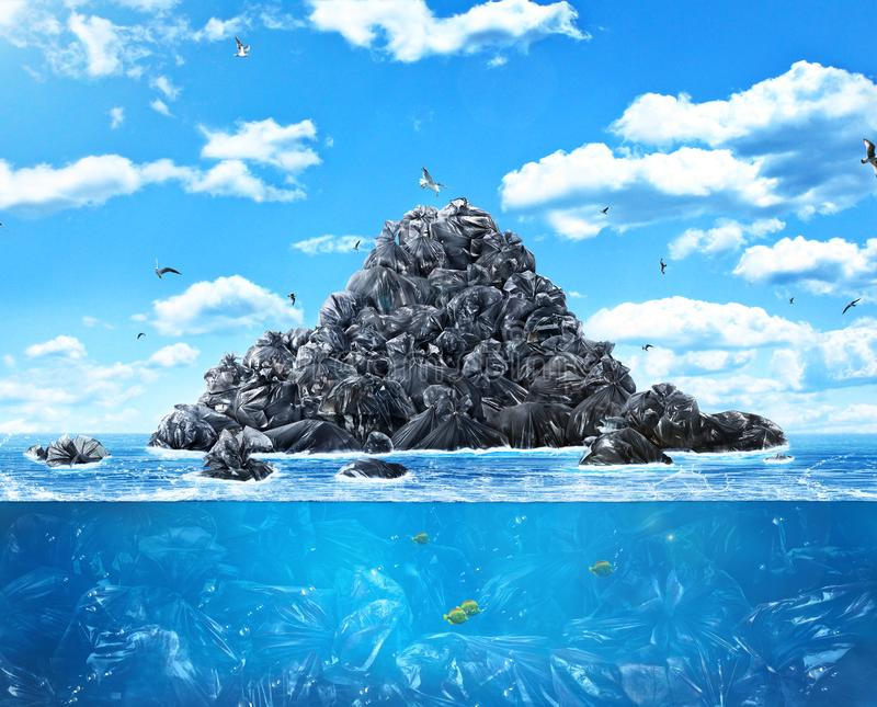 A lot of garbage bags in the sea. Сoncept of global pollution. A lot of garbage bags in the sea of the background of nature. Save the planet stock photography
