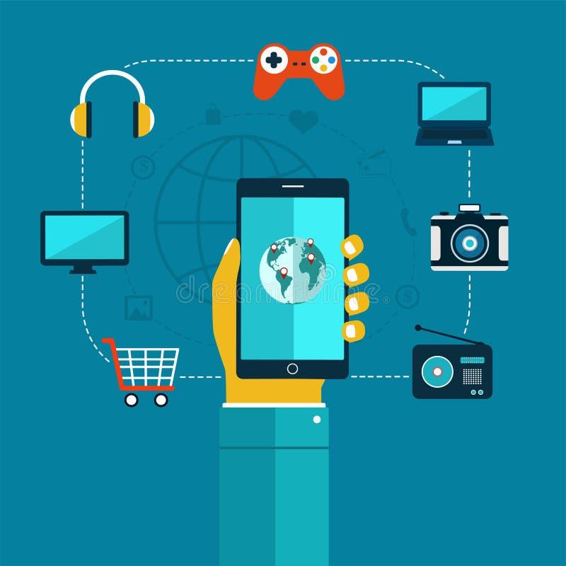 Ð¡oncept of mobiles app phone in hand, shopping, entertainment. stock illustration