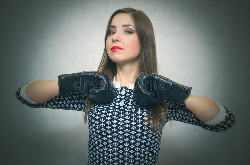 Ð¡onfident and proud woman. Female rivalry. Bossy girl. royalty free stock photo