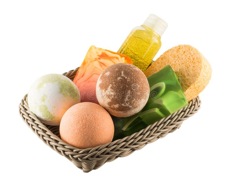 Ð¡osmetic bath products lying in the basket stock photography