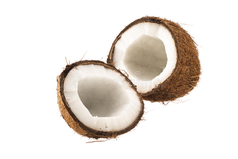 Ð¡racked coconut fruit royalty free stock images