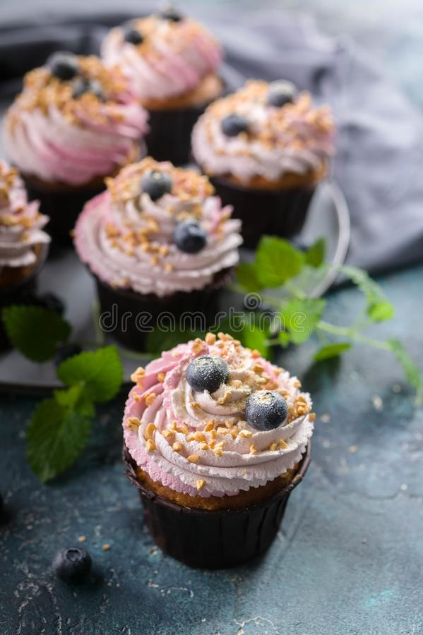 Homemade cupcakes with blueberries on dark blue concrete background. Vertical shot. Ð¡upcakes with blueberries on dark blue concrete background. Vertical shot royalty free stock photos