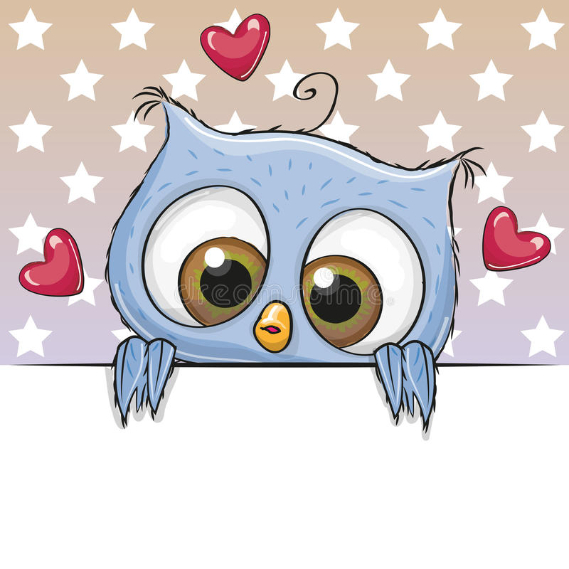 Сute Cartoon Owl is holding a placard. Greeting card cute Cartoon Owl is holding a placard on a stars background vector illustration