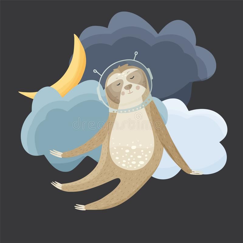 Cute sloth cosmonaut flying in the sky. Cute cartoon sloth cosmonaut flying in the night sky. Lazy bear astronaut vector illustration in a flat style vector illustration