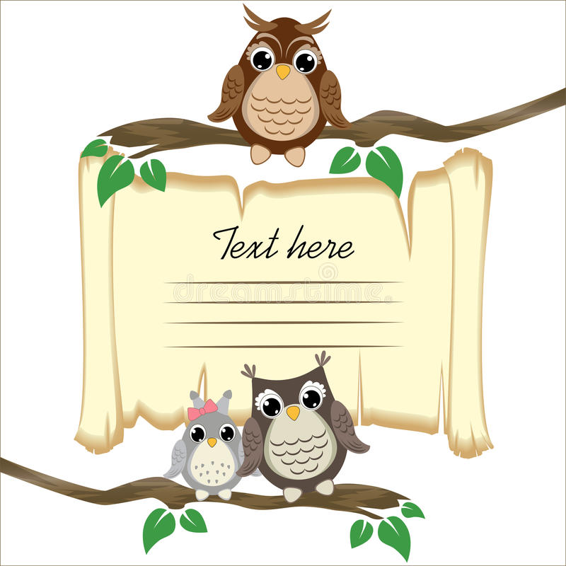 Сute owls on a branch on the old scroll background with space for text royalty free illustration