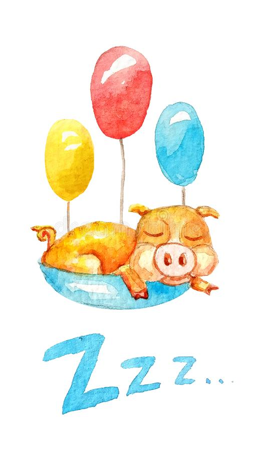 Watercolor pig sleep in backet with different colours ballons. Ð¡ute yellow pig sleeping in a blue basket with three different colored ballons watercolor style vector illustration