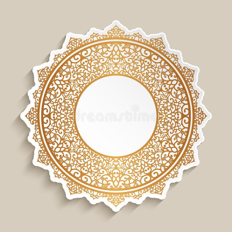Ð¡utout paper label with gold border pattern vector illustration