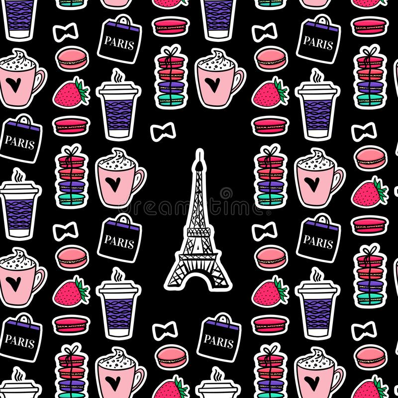 Эйфелева башня с кофе и macaroons Стиль Парижа Поверхностный дизайн Стикеры иллюстрации эскиза вектора на черной предпосылке иллюстрация штока