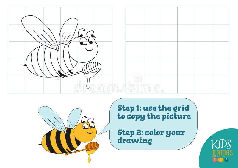 Экземпляр и цвет изображают иллюстрацию вектора, тренировку Смешной персонаж из мультфильма пчелы бесплатная иллюстрация