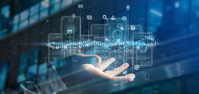 Экраны пользовательского интерфейса удерживания бизнесмена с переводом значка, stats и данных 3d стоковые изображения rf