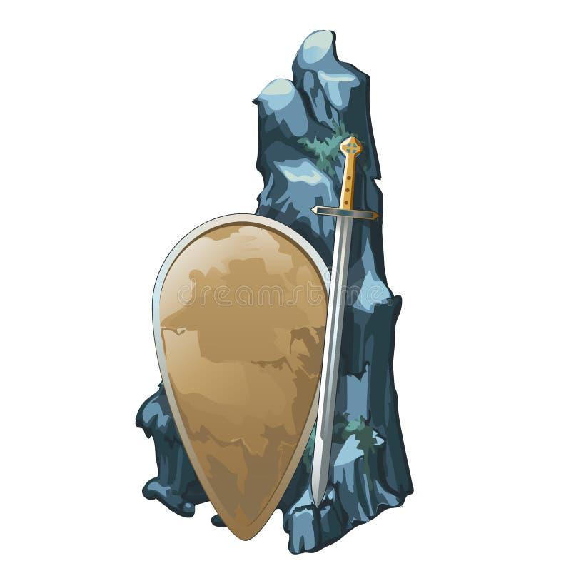 Экран и шпага с камнем покрыты с илом изолированным на белой предпосылке Археологические находки старого иллюстрация штока