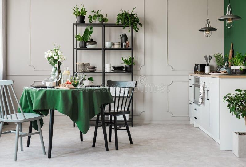 Элегантная серая и зеленая кухня в арендуемом доме стоковые фотографии rf