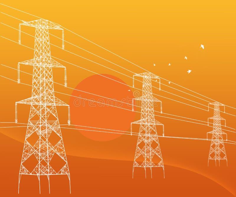 Электричество возвышается высоковольтные передающие линии Abstarct бесплатная иллюстрация