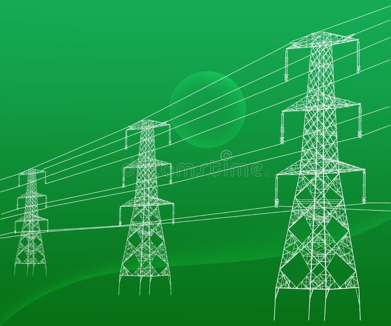 Электричество возвышается высоковольтные передающие линии Abstarct иллюстрация вектора