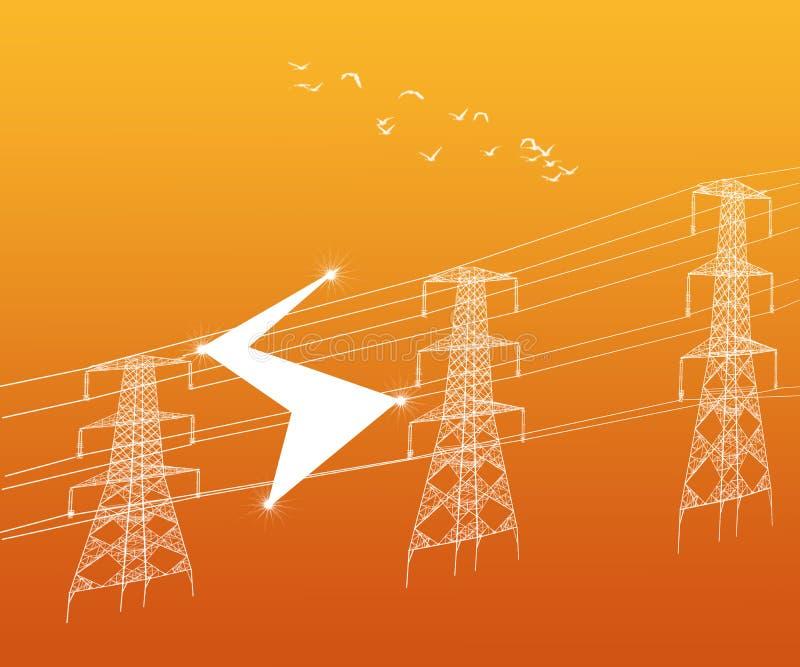 Электричество возвышается высоковольтный конспект передающих линий иллюстрация вектора