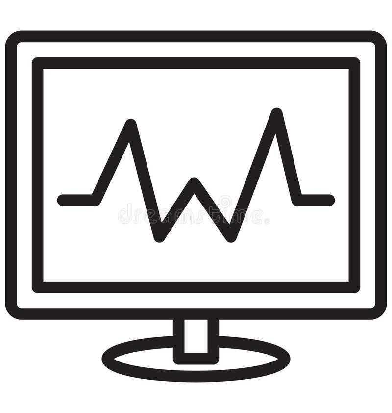 Электрокардиограмма изолировала значок вектора который может легко доработать или отредактировать иллюстрация вектора