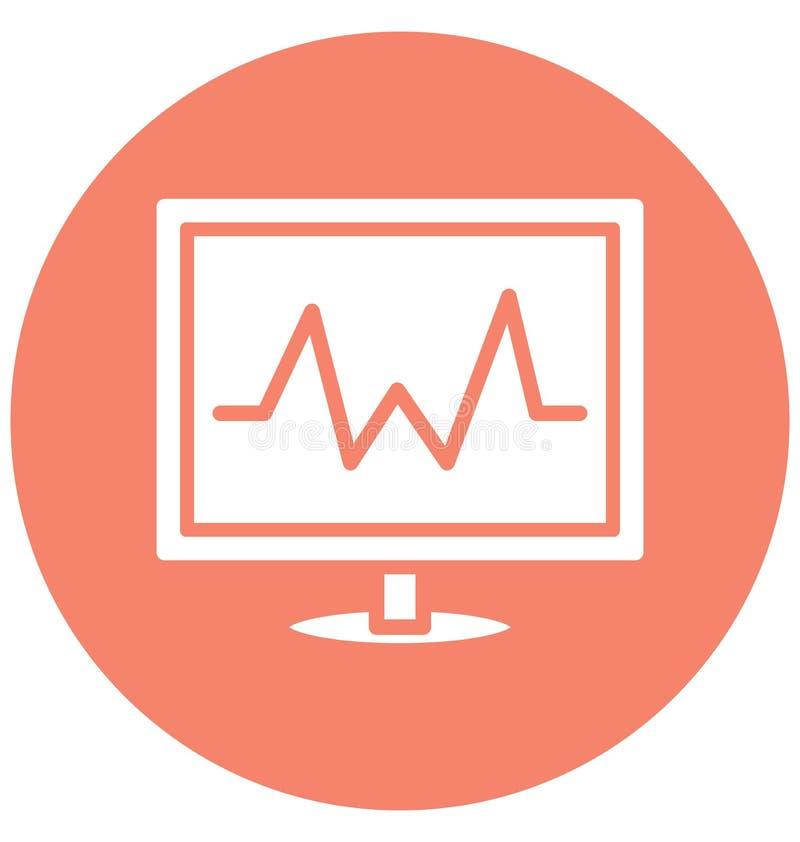 Электрокардиограмма изолировала значок вектора который может легко доработать или отредактировать бесплатная иллюстрация