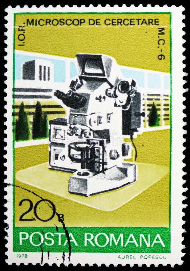 Электронный микроскоп, serie индустриального развития, около 1978 стоковое фото