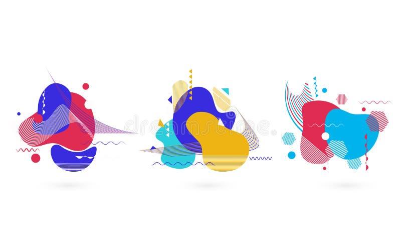 Элементы плоского искусства стиля красочного жидкого абстрактные иллюстрация вектора
