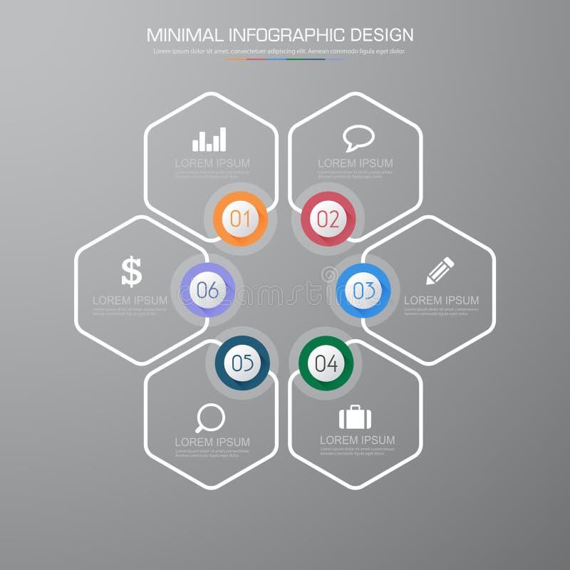 Элементы Infographic со значком дела на фоновом процессе полного цвета или шагах и диаграммах потока операций вариантов, дизайне  иллюстрация вектора