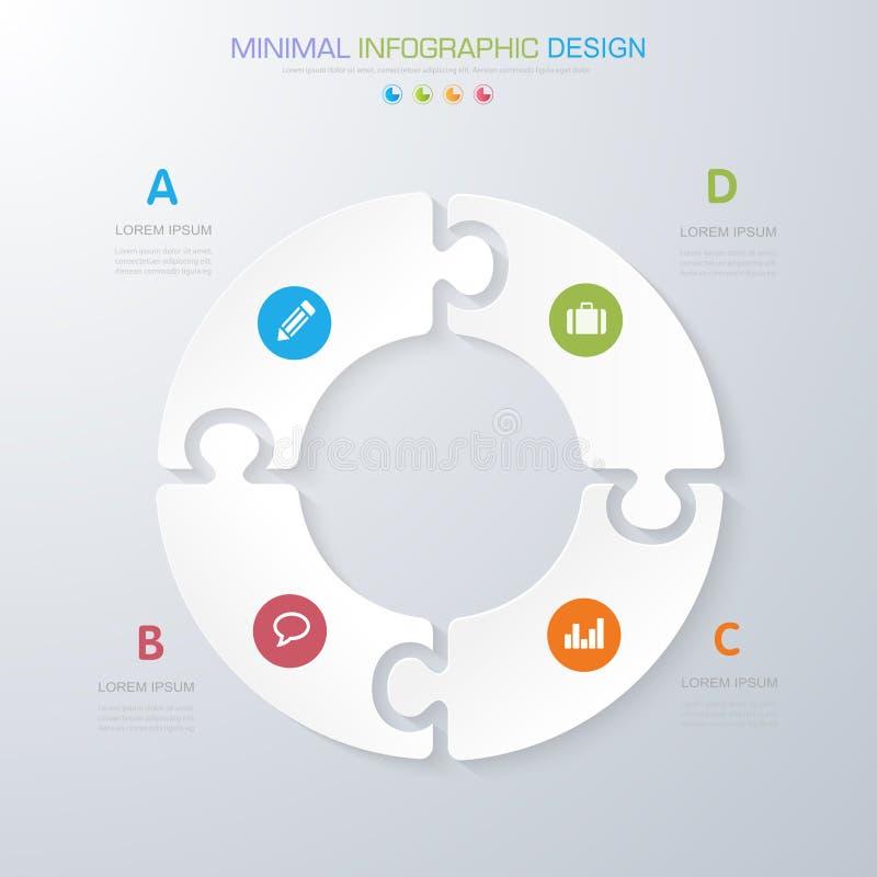 Элементы Infographic со значком дела на фоновом процессе полного цвета или шагах и диаграммах потока операций вариантов, дизайне  иллюстрация штока