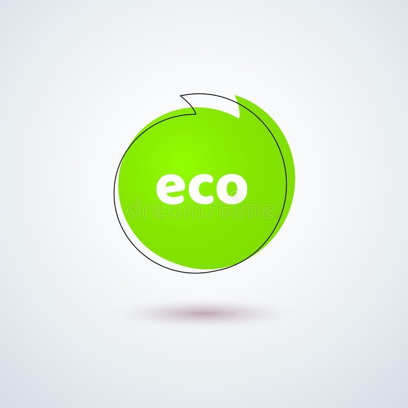 Элемент дизайна рамки знамени Eco названия ярлыка бирки яркий ый-зелен круглый для рекламировать естественных экологических знаме иллюстрация вектора