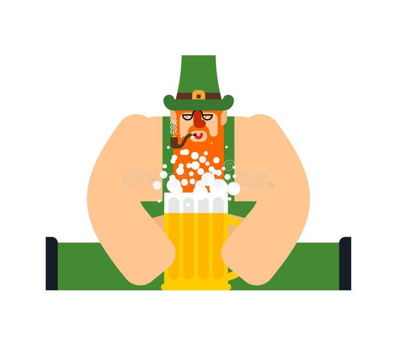 Эль кружки лепрекона и пива Характер дня St Patricks Ирландский праздник Карлик в зеленой шляпе иллюстрация штока
