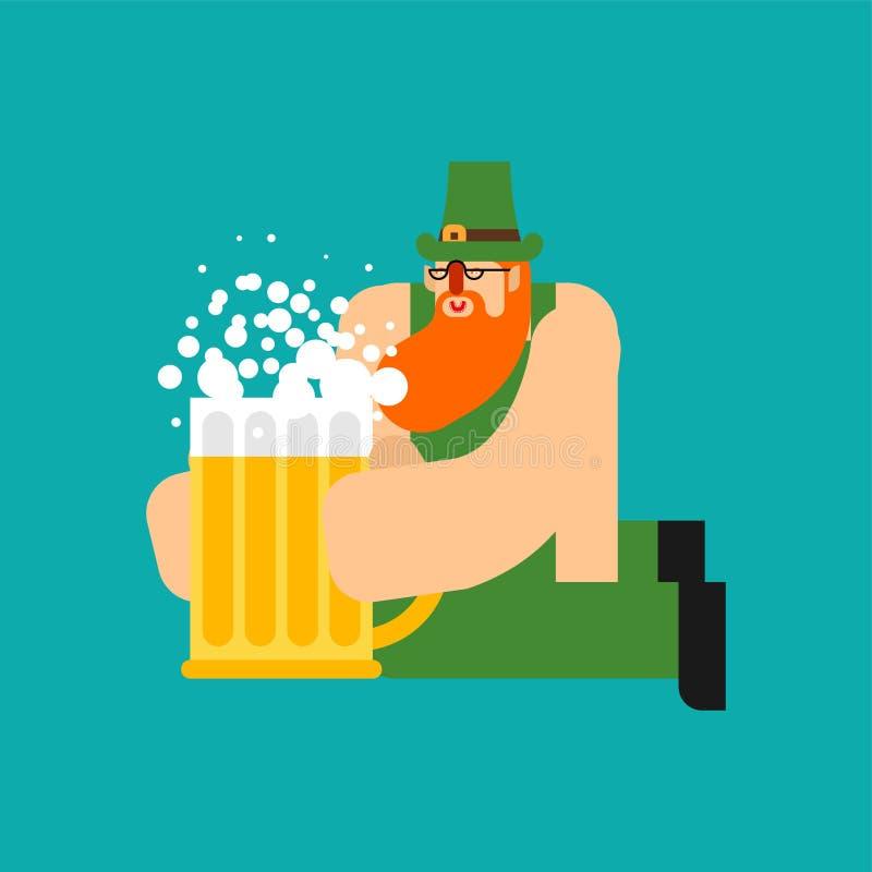 Эль кружки лепрекона и пива Характер дня St Patricks Ирландский праздник Карлик в зеленой шляпе иллюстрация вектора