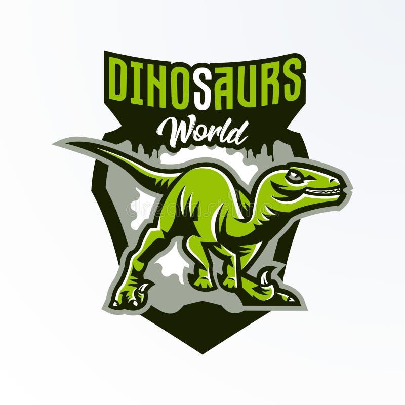 Эмблема, значок, стикер, логотип динозавра на охоте Хищник юрский, опасный зверь, потухшее животное, талисман бесплатная иллюстрация