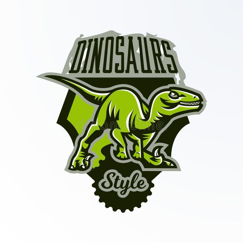 Эмблема, значок, стикер, логотип динозавра на охоте Хищник юрский, опасный зверь, потухшее животное, талисман иллюстрация штока