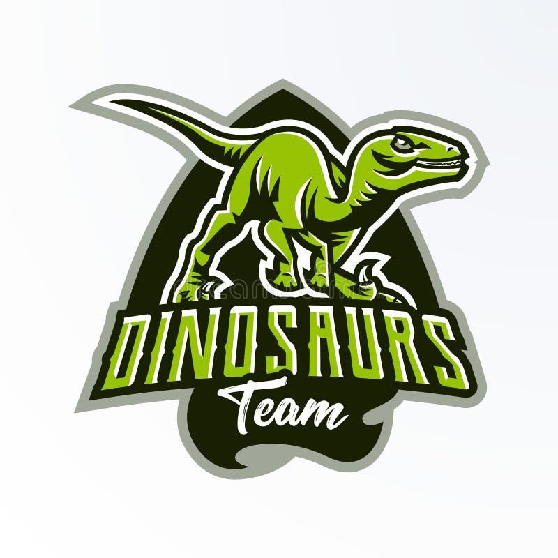 Эмблема, значок, стикер, логотип динозавра на охоте Хищник юрский, опасный зверь, потухшее животное, талисман иллюстрация вектора