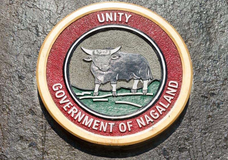 Эмблема или уплотнение правительства Nagaland, Индии стоковое фото rf
