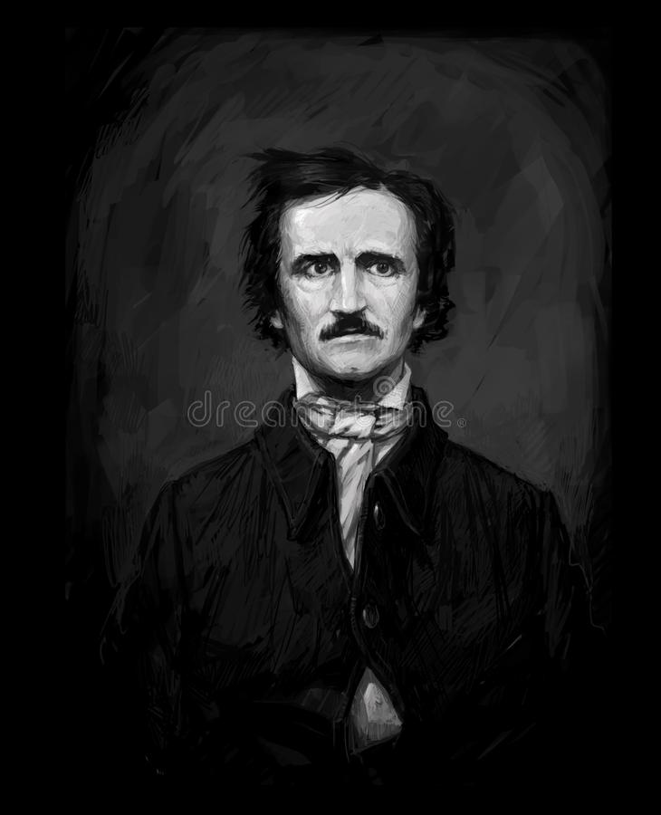 Эдгар Аллан Poe, рисуя на изолированной черной предпосылке для печати и сети Черно-белый состав для интерьера картина иллюстрация вектора