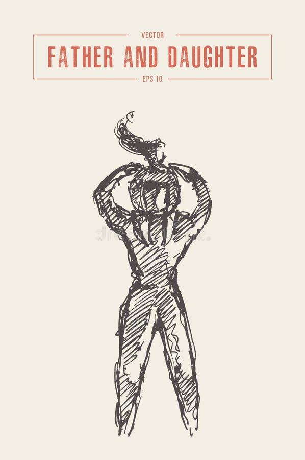 Эскиз вектора руки силуэта ребенка отца вычерченный бесплатная иллюстрация