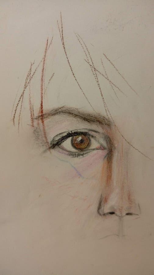 Эскиз глаза и носа на старой белой бумаге иллюстрация вектора