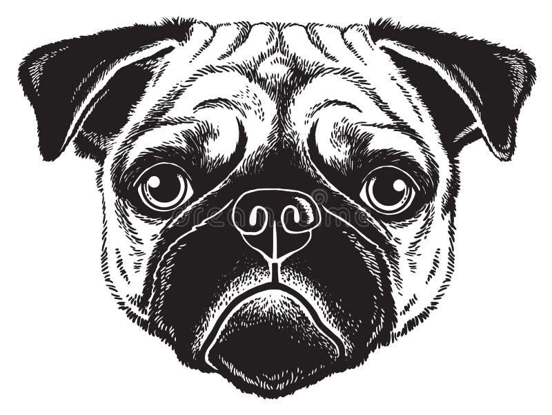 Эскиз портрета мопса dog' эскиз стороны s иллюстрация вектора