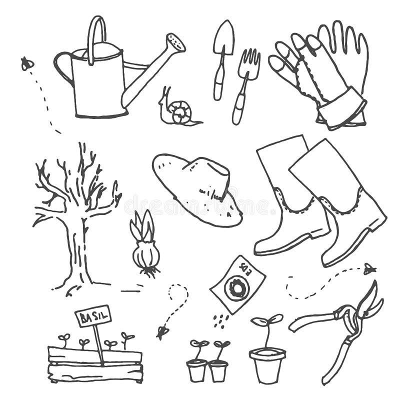 Эскиз руки вектора вычерченный садовничая иллюстрации на белой предпосылке иллюстрация штока
