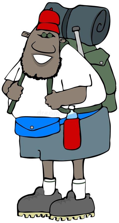 Этнический hiker с пакетом иллюстрация штока