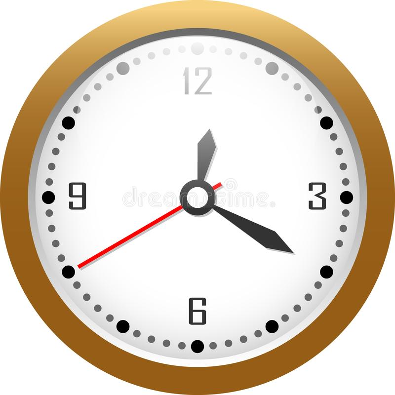 Gold watch 12:20 stock illustration